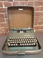Vtg Smith Corona Manual Portable Typewriter Super Silent w Case Green Parts Only