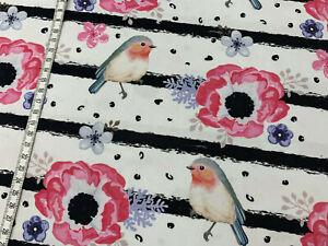 """Jersey """" Birdie & Flowers """" Streifen - schwarz/weiß - Vögel - Kinderstoff"""