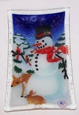 "PEGGY KARR FUSED ART GLASS SNOWMAN DEER CARDINAL RABBIT 9 1/2"" x 5 1/2"" TRAY"