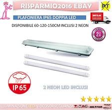 PROMO PLAFONIERA STAGNA NEON IP65 LED PER ESTERNO 60 120 150 CM SINGOLA E DOPPIA