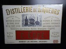 Superbe plaque publicitaire EPPE  Liqueurs Huile Vinaigre Cigares 1898 TBE