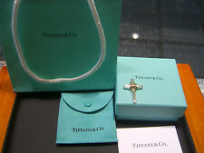 TIFFANY & CO WOMENS 18 KARAT YELLOW GOLD AND STERLING SILVER CROSS NEW WOW!