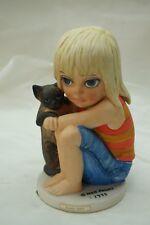 MARGARET KEANE BIG EYES FIGURINE GIRL LITTLE ONES CAT VINTAGE 1976 DAVE GROSSMAN