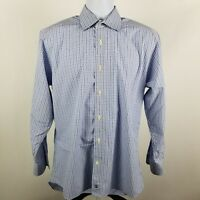 David Donahue Mens White Blue Check Plaid L/S Dress Button Shirt Sz 16 32/33