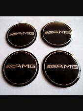 4x55 MERCEDES AMG Black Wheel Center Hub Caps Silicone Badge Emblem Stickers