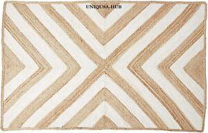 Rug 100% Natural Jute Braided style Reversible Runner Rug Modern Area carpet rug