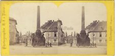 Allemagne Carlsrure Monument Grand-Duc Charles Photo H. Jouvin Stereo Albumine