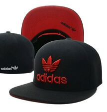 Embroidered Adidas Trefoil Snapback Flat Cap Black & Red: One Size Fits Most