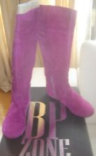 Stivali camoscio alti senza tacco viola pelle scamosciata Purple Boots N 38 New