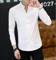 Chinese Style Mens Slim Fit Stand Collar Tops Casual T-Shirt Blouses Shirts