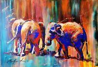 "ORIGINAL Acrylic  PAINTING on canvas board elephants 28"" X 18"" Marilyn Allis"