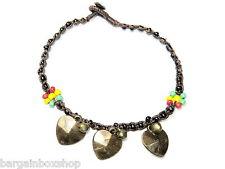 Love Heart Charm Rasta Bell Bead Ankle Bracelet Foot Anklet Hippy Boho Handmade