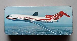 Vintage Tin ANSETT-ANA  Boeing 727 Jet. Griffiths Sweets Pty Ltd. Richmond Vic.