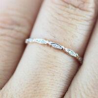 Women's Fashion Gold Band Thin Ring Rhinestone Engagement Wedding Jewelry WE