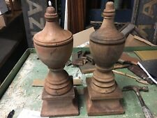 "gorgeous pair antique urn style finials poss. Mahogany 18"" h x 7"" sq - 6"" dia"