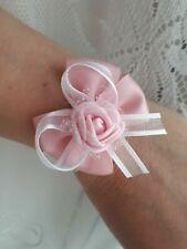 Flower Bow Wrist Corsage Bracelet Wedding Prom Party Bridesmaids Decor UK