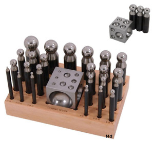 25 Piece Steel Doming Block and Punch Set Dapping Craft Metal Shaping Tool Kit