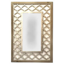 Wall Mirror Art Modern Hanging Sculpture Timber Wood Gold Frame 93cm BIG