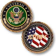 U.S. Army Emblem / Veteran with Flag - Brass Challenge Coin