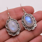 925 Sterling Silver Dangle Earrings Natural Rainbow Moonstone Women Jewelry CE11