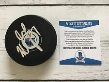Milan Lucic Signed Autographed Edmonton Oilers Hockey Puck Beckett BAS COA b