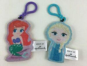 Hallmark Disney Princess Lot of 2 Ariel and Elsa Plush Keychains Backpack Clips