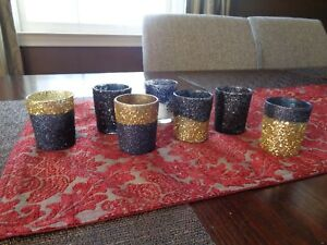 39 Candle Votives BLACK 7 GOLD Glitter Wedding Centerpiece Gatsby Vintage 1920s