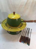 Vtg RARE Mid-Century AVOCADO Green Yellow Fondue Pot Bread Warmer 8 Forks