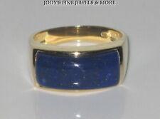 SPECTACULAR ESTATE 14K YELLOW GOLD RECTANGULAR BLUE LAPIS RING BAND SIZE 7