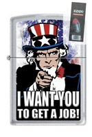 Zippo 205 uncle sam i want you to get a job Lighter + FLINT PACK