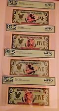 1987 Type 1 & TY 2 $1 & $5 Proof Disney Dollar 4 note set PCGS 66PPQ all 4 notes