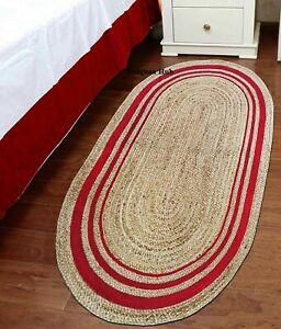 Rug 100% Natural Jute 2X3 Feet Reversible Oval Area Dhurrie Carpet Mat Rag Rugs