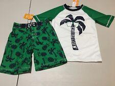 NWT Gymboree Boys Palm Swimsuit Rash Guard trunk Shorts Set UPF 50+ Many size