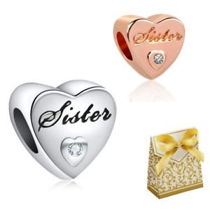 New Sister Mom Mother brother Love Heart Charm for European Bracelets + Gift BOX