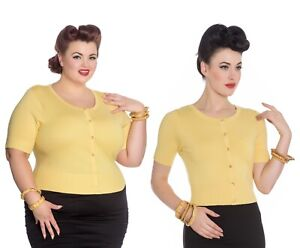 HELL BUNNY Wendi Cardigan Yellow Rockabilly 50s Pinup Knit Top Plus Size