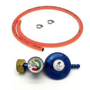 SCREW ON BUTANE GAS BOTTLE REGULATOR WITH GAS LEVEL INDICATOR 1m HOSE AND CLIPS