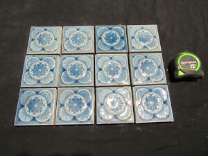 ~ LOT OF 12 ANTIQUE VICTORIAN TILES 3 SQUARE ~ ARCHITECTURAL SALVAGE