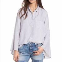 BP Women's M Medium Blue White Vertical Stripe Bell Sleeve Button Up Top Blouse
