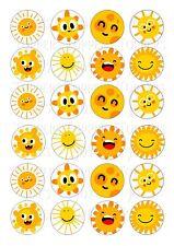 24 SMILEY SUN SUNS CUPCAKE TOPPER WAFER RICE EDIBLE FAIRY CAKE BUN TOPPERS