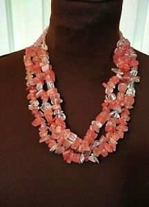 Necklace Chico's multi strand glass beads Pink White color short