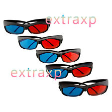 5x Black Frame Red Blue 3D Glasses For Dimensional Anaglyph Movie Game DVD exp