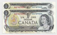 2 x Sequential 1973 $1 Bank of Canada Notes BAE7875433-4 - UNC