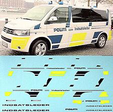 VW t5 politi Dinamarca new design policía vehículos 1:43 decal estampado