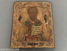 IKONE ANTIK SANKT NIKOLAUS VON MYRA Old Russian icon holy St NICHOLAS Saint gold