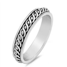 Celtic Twist Style Oxidised 925 Sterling Silver Spinning Spinner Band Ring 5 mm