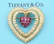 Tiffany & Co ITALY Vintage 18K Yellow Gold Pink Sapphire Heart Brooch / Pendant