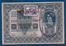 Austria - Hungary banknotes, 1000 Kronen 1902. stamp PREKOMURJE !