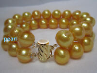 "NATURAL HUGE 11-12MM SOUTH SEA GEOLDEN PEARL BRACELET 7.5-8"" 14K GOLD CLASP"