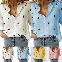 Women's Cotton Linen Birds Print Tops Long Sleeve Blouse Ladies Buttons T-Shirts