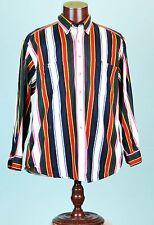 Vtg 90s Basic Options Jean western Button up work colorfull Rainbow shirt sz L